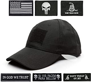 Antrix Tactical Cap Tactical Hat Adjustable Operator Cap Outdoor Baseball Cap with 6 Pieces US Flag Punisher Don't Tread On Me Tactical Patches for Hiking Climbing Working Golf Etc -Army Black