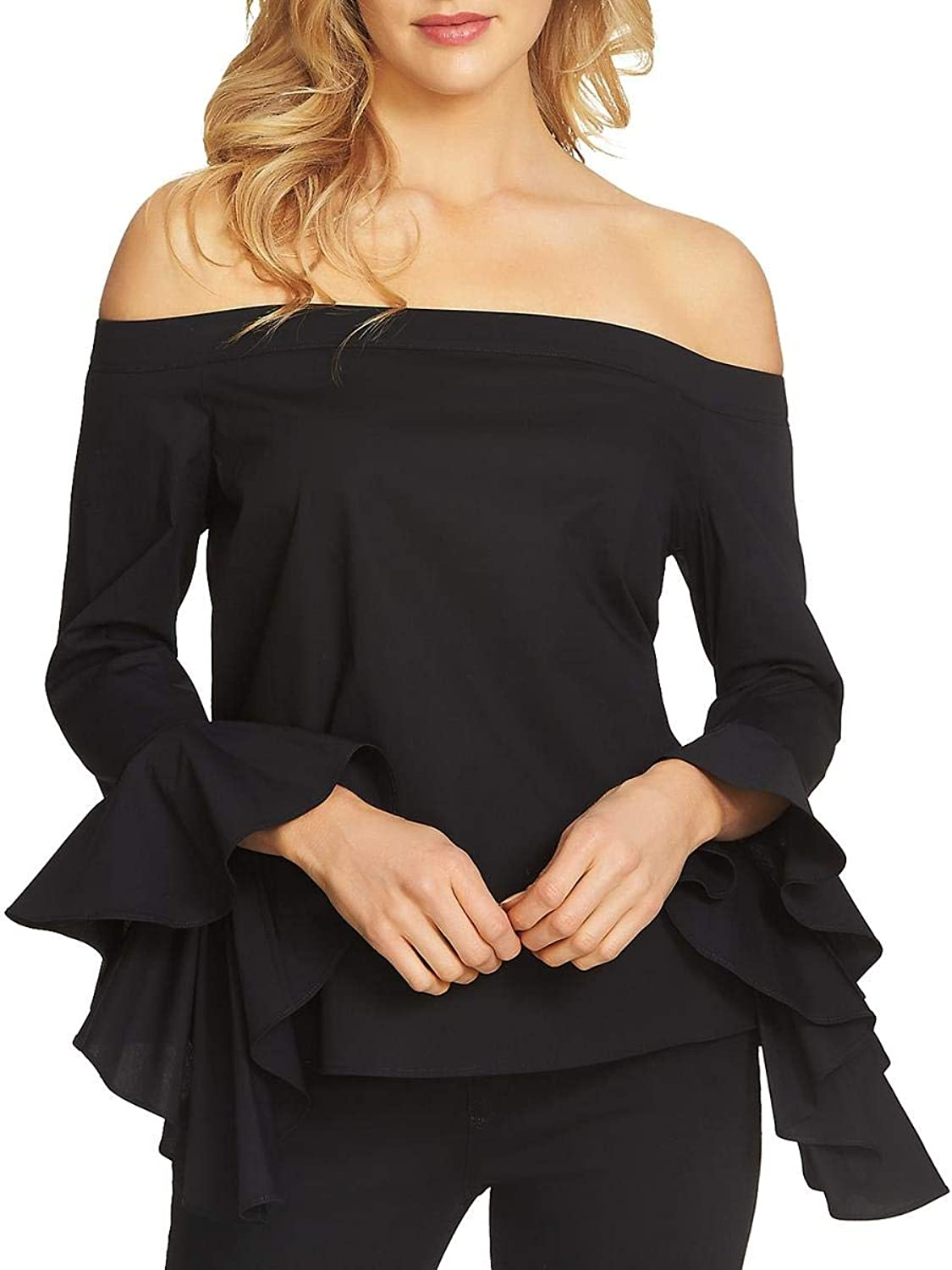 1.STATE Womens Ruffled Sleeves OffTheShoulder Blouse