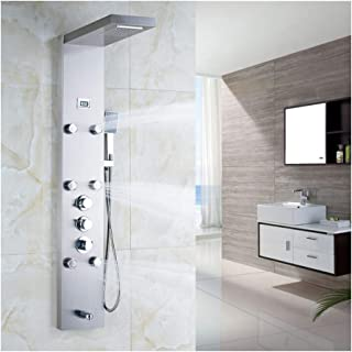 TANGAN Shower Panel System Digital Display Shower Panel Tower Multifunction Stainless Steel Shower System with Rain Shower Head, Handheld Sprayer, Massage Body Jets, Tub Spout,Brushed Nickel