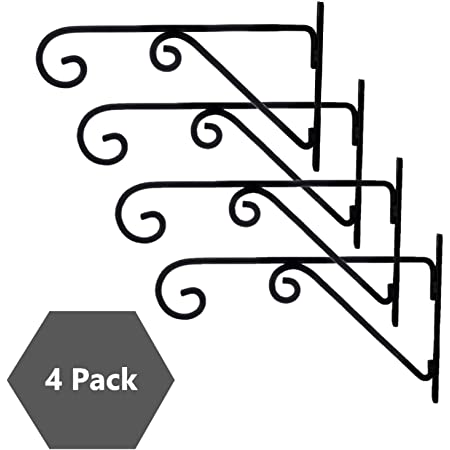Sharpex Wall Mounted Metal Bracket for Hanging Pots, Bird Feeders, Flower Baskets, Planters, Lanterns, Wind Chimes Indoor/Outdoor Use- Black, 4 Pc