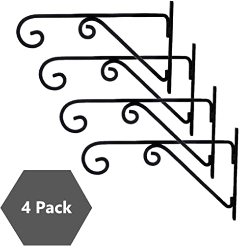 Sharpex Wall Mounted Metal Bracket for Hanging Pots, Bird Feeders, Flower Baskets, Planters, Lanterns, Wind Chimes In...