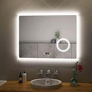 BERLIN Badspiegel mit LED Beleuchtung WETTERSTATION SCHALTER HEIZMATTE UHR A04