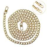 Cadena de bolso con hebillas, cadena de metal para cartera, correas de hombro de repuesto para bolsos, asas de bolso de 120 cm, cadenas doradas, correa de hierro para mujer