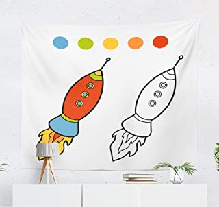 Whoakaka Wall Tapestry,Coloring Book Home Decorative Wall Hanging Polyester Tapestry for College Dorm, Picnic Blanket and Beach Throw 50L x 60W Inches,Coloring Book