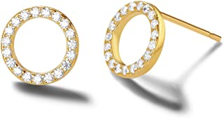 14k Yellow Gold Plated 925 Sterling Silver Dainty Small Statement CZ Cubic Zirconia Cute Circle/Horseshoe/Triangle/Bow Tie/Merry Ring Stud Earrings Fine Jewelry for Women Girls