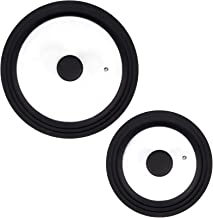 Yesland 2 Pcs Universal Lids for Pots Pans & Skillets - Replacement Lids, Pan Lid - Tempered Glass with Heat Resistant Sil...