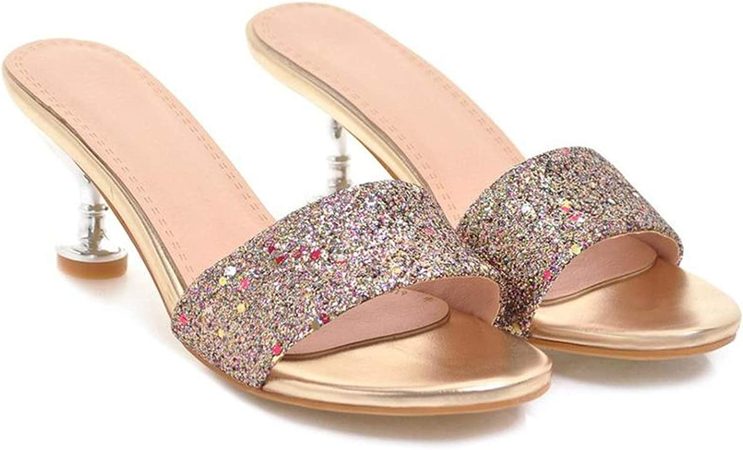 GEKX Women Slippers High Heels shoes Women Wedges shoes Open Toe shoes Slippers Female Mules Party Platform shoes