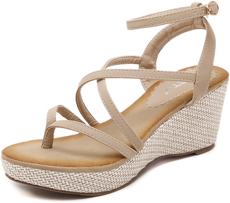 U-MAC Womens Fashion Bohemian Women Mid Heeled Platform Wedge Sandals Strappy Buckle up Summer shoes