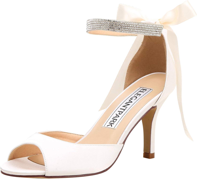 Elegantpark Women Peep Toe High Heel Sandals Bridal Wedding shoes for Bride Ankle Strap
