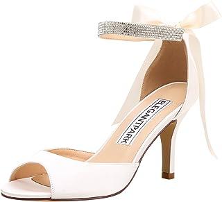 9d57d9fd1e6 ElegantPark Women Peep Toe High Heel Sandals Bridal Wedding Shoes for Bride  Ankle Strap