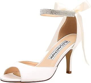 Women Peep Toe High Heel Sandals Bridal Wedding Shoes for Bride Ankle Strap