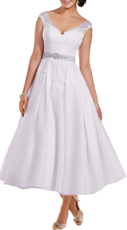 OnlyBridal Women's V Neck Appliques Tulle A Line TeaLength Wedding Dress