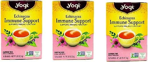 Yogi Tea Echinacea Immune Support, Herbal Supplement, Tea Bags, 16 ct, 3 pk
