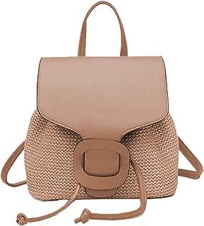KIKISUM Imitate Straw Backpack for Women Bohemia Casual Woven Beach Bag Fashion Traveling Purse