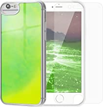SanLead iPhone Case Quicksand Liquid Noctilucent iPhone case Shock-Absorbing Fall-Resistant and Leak-Proof TPU&PC for iPhone [Noctilucent] (for New iPhoneSE/iPhone 6/6s/7/8, Yellow & Green)
