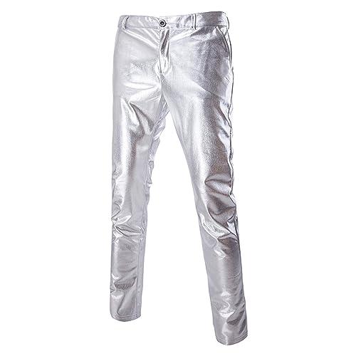 3315df18 ZEROYAA Mens Night Club Metallic Gold Suit Pants/Straight Leg Trousers