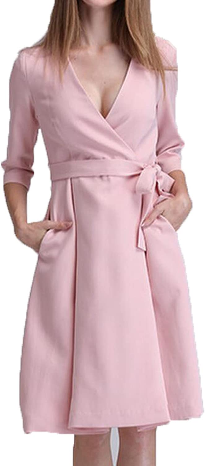 Spring Lady Elegant V Collar Sleeve Dress