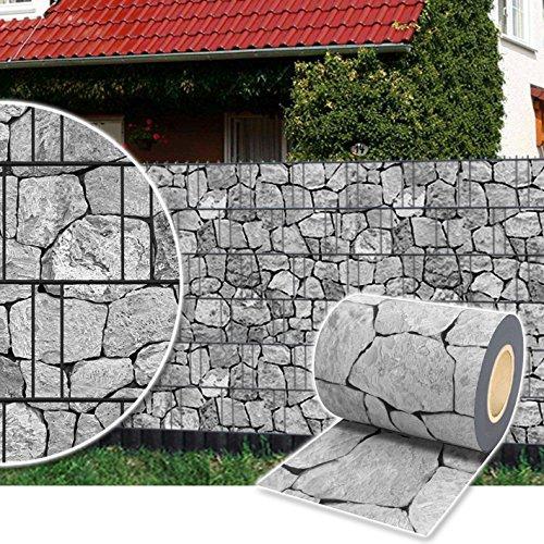 Plantiflex Sichtschutz Rolle 35m Blickdicht PVC Zaunfolie Windschutz für Doppelstabmatten Zaun (Stein-Grau)