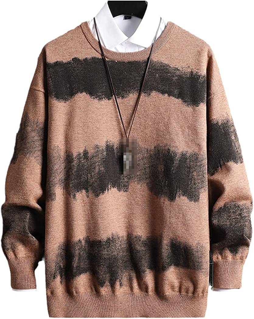 LOIUYBM Oversized Mens Knitted Sweater Striped Gradient Sweaters Jumper Pullover Hip Hop Harajuku Black Sweater