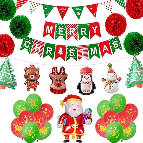 Kerst Pinguïn Dier Ballon Kerstversiering Set Rood Groen Papier Bloem Bal Kerstman Vlag Bunting Ballon Figure 1