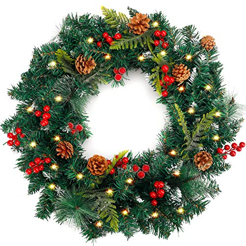 COCOBOO 24in Christmas Wreath and a Light String, with Pinecone and Red Berries Decoration, for Christmas Holiday Use