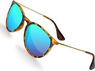 Sunglasses for Women Men Polarized UV Protection Lens Round Fashion Mirrored Black Sunglasses