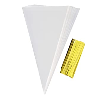 Cone Treat Bags Clear Cone Bags 200 PCS Clear Cello Bags with 200 Twist Ties for Gift,Candy, Crafts (200 PCS)