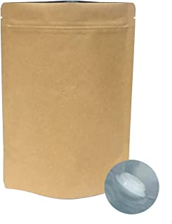 AwePackage Barrier Kraft Paper Stand up Zipper Coffee Pouch Bags with Aroma Degassing Valve (25, 8 Oz)