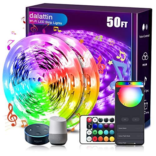 dalattin Smart Led Strip Lights WiFi 50ft, 2 Rolls of 25ft, Compatible with Alexa Led Lights Music Sync 5050 16 Million...