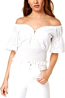 GUESS Womens Eyelet Knit Buttoned Off Shoulder Blouse White XL