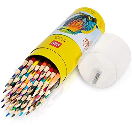 Deli 48 Pack Colored Pencils with Built-in Sharpener in Tube Cap, Vibrant Color Presharpened Pencils for School Kids Teachers, Soft Core Art Drawing Pencils for Coloring, Sketching, and Painting