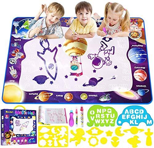 Smarkids Wasser Doodle Matte 100*70 cm Wasser Zeichnen Malmatte mit Magic Stifte Wiederverwendbare Aqua Zeichnung Drawing Painting Matte Wasser Malmatte Aqua Magic Doodle Matte für Kinder Baby Toddler