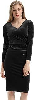 Women's Long Sleeve Soft Velvet Pleated Crossover Bodycon Pencil Dress