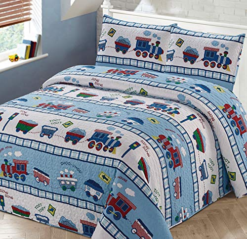 Kids Zone Home Linen 3pc Full/Queen Bedspread Coverlet Quilt Set for Boys Multi-Color Train Choo-Choo Rail Roads Tracks Wagon Blue White Red