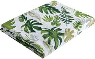 Firlar Muslin Swaddle Blankets,Breathable Organic Cotton Baby Towel Receiving Blanket Unisex for Boys and Girls 120x120cm (Tropical Palm Leaves)