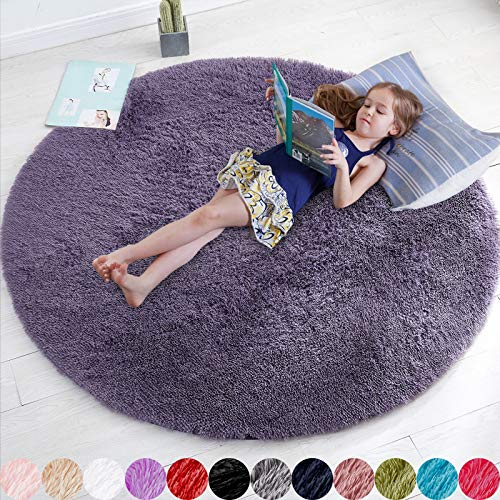 Purple Gray Rug for Bedroom,Fluffy Circle Rug 4'X4' for Kids Room,Furry Carpet for Teen's Room,Shaggy Circular Rug for Nursery Room,Fuzzy Plush Rug for Dorm,Grey Carpet,Cute Room Decor for Baby