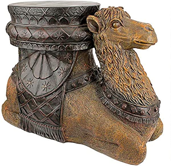 Design Toscano Kasbah Camel Boho Decor Side Table 21 Inch Polyresin Woodtone