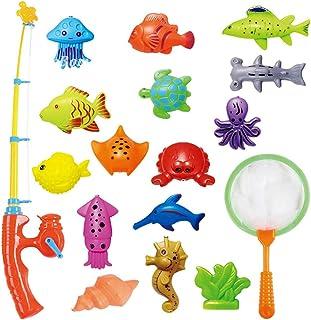 CozyBomB Kids Fishing Bath Toys Game - 17Pcs Magnetic Floating Toy Magnet Pole Rod Net, Plastic Floating Fish - Toddler Ed...