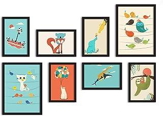 Kids Art Theme Framed Painting/Posters for Kids Room Decoration, Set of 8 Black Frame Art Prints/Posters for Living Room b...