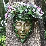 Lathamsea Green Man Tree Face Sculpture, Garden PlanterDecor, Whimsical Tree Hugger Statue, Suitable for Indoor and Outdoor Garden Yard Decoration