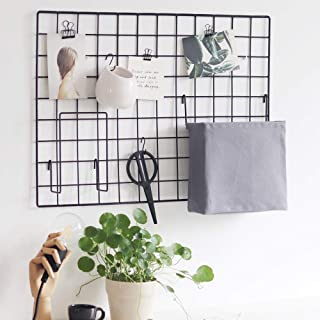 BULYZER Grid Photo Wall, Wire Panel Board Picture Decoration for Room Clip Holder Photograph Mat Hanging Display Frames Storage Organizer,25.6'' x 17.7''Black(2Pack)