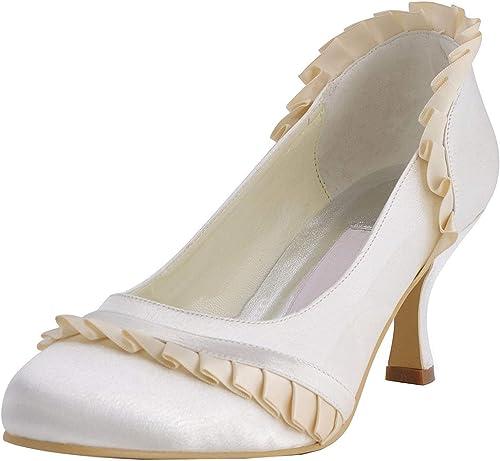 Qiusa GYMZ686 Ruffles para mujer Fiesta de Noche de satén Baile Nupcial zapatos de Boda Bombas Sandalias Flatfs (Color   Ivory-6.5cm Heel, tamaño   7 UK)