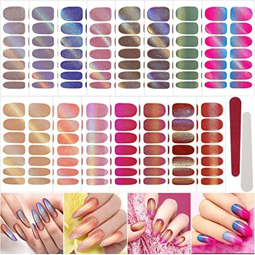 210 Pieces 15 Sheets Nail Stickers Gradient Holographic Glitter Color Full Wraps Nail Polish product image