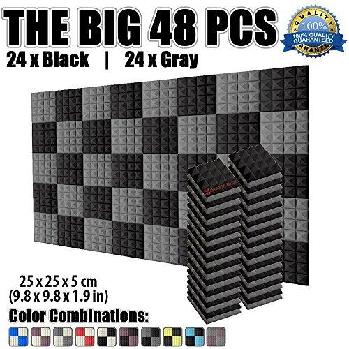 Super Dash 48er Pack, Pyramid Akustik-Fliesen-Schaum, Schalldämmplatten, SD1034 25 x 25 x 5 cm, für das Studio zu Hause, schalldichte Fliesen, BLACK & GRAY, 25 X 25 X 5 cm