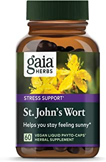 Gaia Herbs St. John's Wort, Vegan Liquid Capsules, 60 Count - Stress Support to Promote a Positive and Sunny Mood