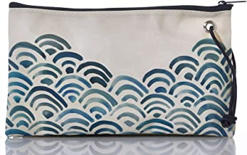 product image for Sea Bags Recycled Sail Cloth Watercolor Waves Wristlet Large