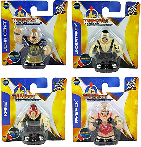 WWE Thumbpers Series 1 Mini Wrestling Figure Set of 4 - John Cena, Undertaker, Kane & Ryback
