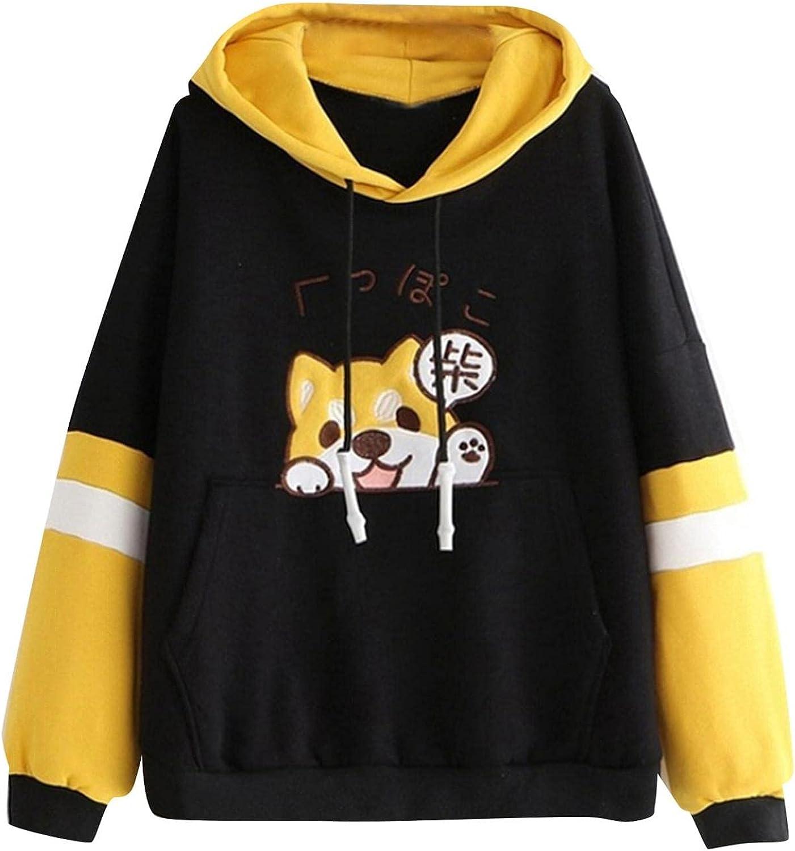 Fudule Cute Hoodies for Teen Girls Corgi Graphic Sweatshirts Color Block Raglan Sleeve Pullover Comfy Fleece Hooded Tops