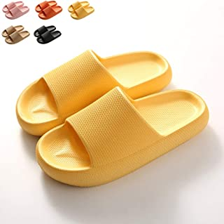 Woman'S Man'S House Slippers, Plus Size EVA Thick Bottom Sandals Anti-Slip Massage Shower Spa Bath Indoor & Outdoor,Yellow,35/36