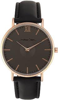 Watch Unisex Andreas Osten à Quartz Cadran Grey 36 mm Et Bracelet Black En Leather AO